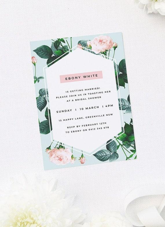 10 x BLANK DUSKY PINK /& GREY PROTEA PRINT EVENING WEDDING INVITATIONS
