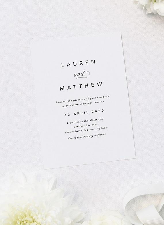 Classic Wedding Invitation Wedding Invitations Letterpress Wedding Invitation DEPOSIT Wedding Invitation Flourish Wedding Invitation