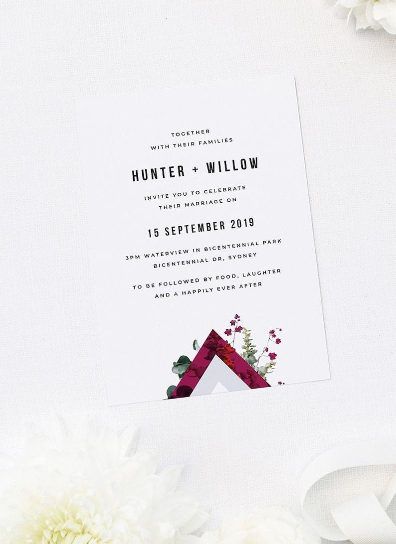 Burgundy Marble Botanical Wedding Invite Modern Greenery Dainty Floral Geometric Crimson Grey Chic Wedding Custom Wedding Invitation