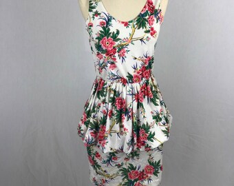 Vintage Peplum White Floral Dress