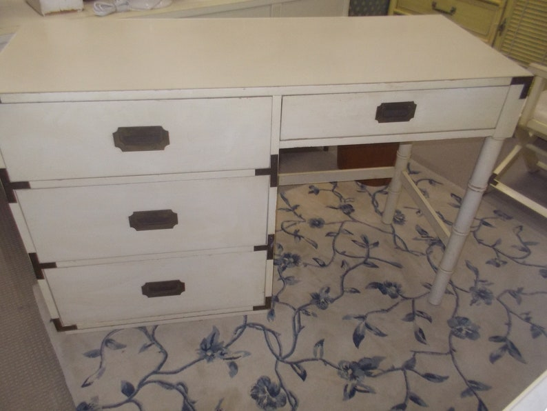 Great Campaign Style Desk By Dixie With Brass Hardware