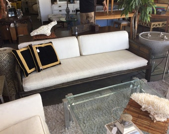Rare McGuire dark rattan sofa daybed with caning