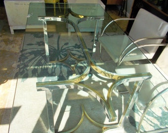 Milo Baughman Chrome and Brass Dining Table Sold