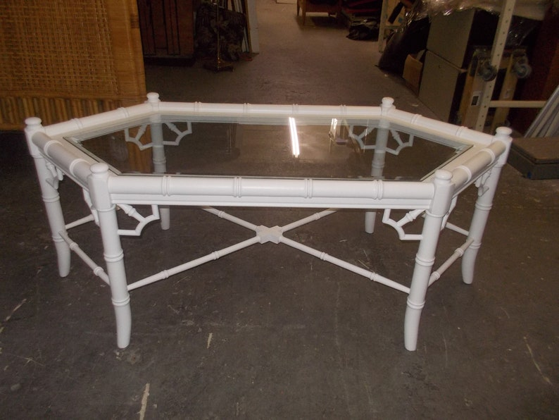 Three Piece Thomasville Allegro Faux Bamboo And Fretwork Coffee Table W/  Pair Of Matching Side Tables Painted