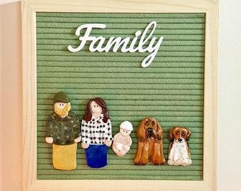 Custom FAMILY Portrait Letter Board Ornaments // Felt Letter Board Accessories // Home Decor // Gift Ideas