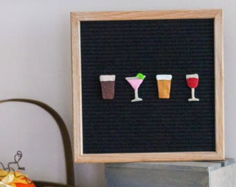 WINE/BEER LOVERS Letter Board Ornaments (Pack of 4- Happy Hour) / Felt Letter Board Accessories / Home Decor