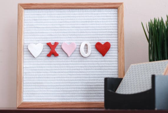 Valentines Day Heart Letter Board Ornaments Pack Of 5 Felt Etsy