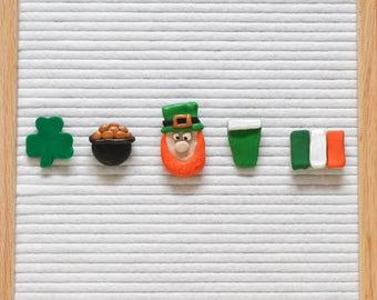 ST. PATRICK'S DAY Letterboard Ornaments / Felt Letter Board Accessories/ Shamrock/ Leprechaun / Pot of Gold/ Green Beer/ Irish Flag