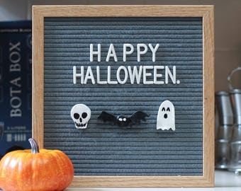 HALLOWEEN Letter Board DECOR (Pack of 3 Ornaments- Ghost, Skeleton and Bat) / Felt Letter Board Accessories
