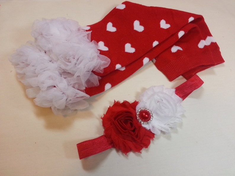 Valentine/'s Day Leg Warmers Set Red with White Heart Leg Warmers with White Ruffle and Matching Red Heart Headband Infant to Adult
