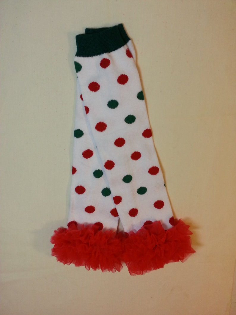 Infant Leg Warmers Leg Warmers for Girls Baby Leg Warmers White with Red and Green Polka Dots and Ruffle Christmas Leg Warmers