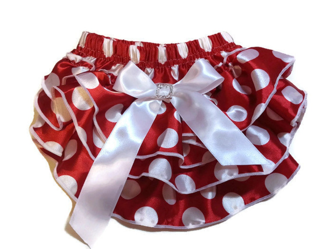0efc10226d Red w White Polka Dots Diaper Cover Baby Bloomers Ruffle