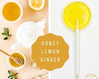 Honey  Lemon  Ginger Lollipops // Sweet and Savory Candy //  Wedding Favor // Honey Candy // Ginger Candy //  Leccare Lollipop // 10 count