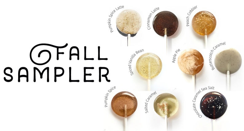 Fall Sampler Box // 20 Lollipops // Fall Wedding // Leccare image 0