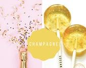 Champagne Lollipops // Gold Flake Lollipops // Spring Wedding Favor // Summer Wedding Favor // Leccare // Favors for Guest // 10 Count Box