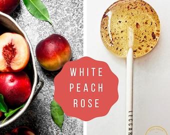 White Peach and Rose Lollipops // Unique Wedding Favors // Edible Flower Lollipops // 10 Lollipops