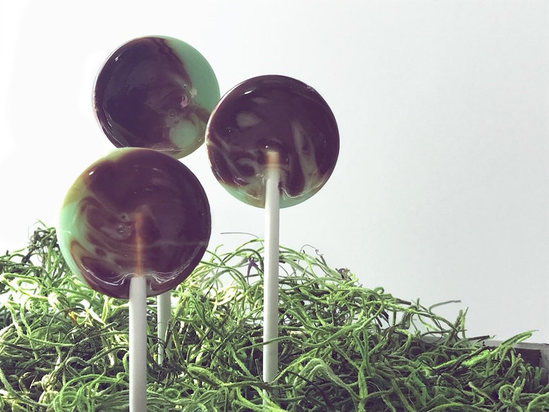 Summer Wedding Favor // Mint and Chocolate Lollipops // Fall image 0