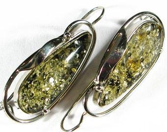Natural Baltic green amber earrings.