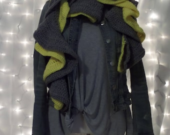 Double Ruffle Scarf, Cold Weather Accessory, Extra Thick Scarf