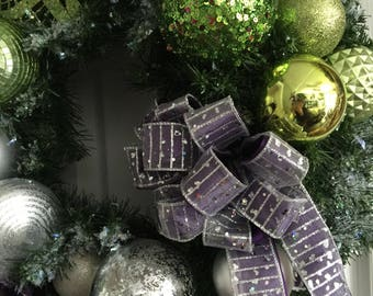 Lime Purple and Silver Holiday Wreath