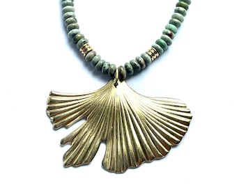 Gorgeous Ginkgo Leaf and African Turquoise Beaded Necklace