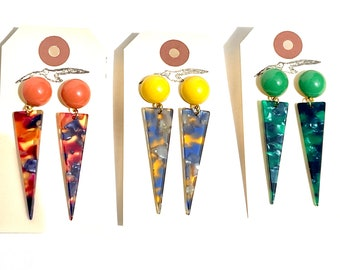 Awesome Acetate Spikey Domed Earrings in 3 Colour Ways