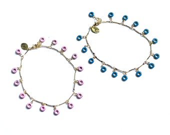 Divine Donut Charm Anklets with Gold Plated Bar Chain and Baby Pink or Blue Enamel Donut Charms
