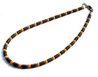 Orange and Bronze Beaded Gemstone Necklace
