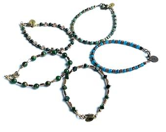 Mixed Gemstone Bracelets with Bloodstone, Apatite, Jade/Goldstone, Hematite and Brass Beads