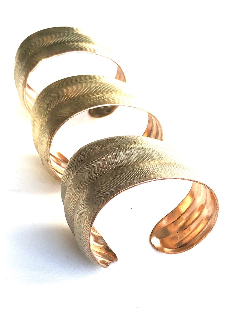 Stunning 1950s Brass Cuff Bracelets Textured and Tapered Polished and Waxed