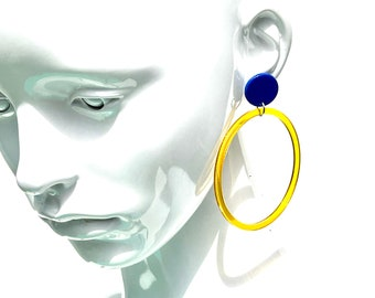 Big Yellow and Blue Acetate and Acrylic Hoop Earrings