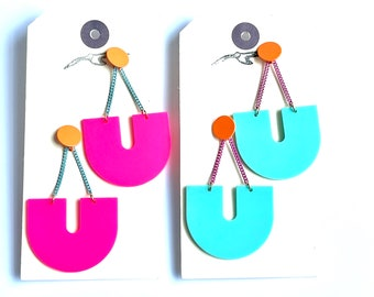 Bright Pink Aqua and Orange U Shape Earrings with Acrylic Charms and Enamelled Studs and Chains