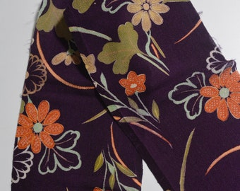 Japanese Chirimen Silk Crepe Fabric Remnants, Vintage Textile #S12