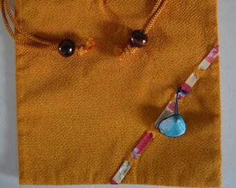 Kinchaku: drawstring purse, Tango chirimen silk