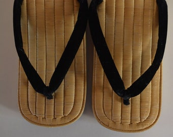 Setta zori straw sandals, vintage Japanese footwear, leather soles