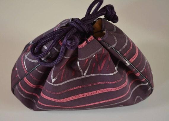 Drawstring handbag, 'kinchaku' purse, Japanese sil