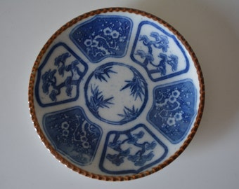 Blue and white Igezara transferware pottery plate, vintage Japanese dish
