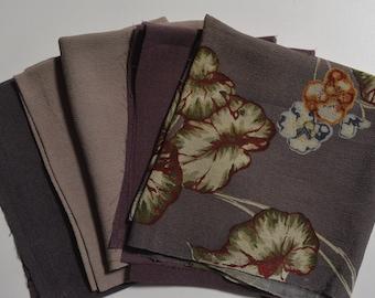 Japanese Silk Fabric Bundle, Vintage Textile #S10