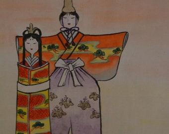Japanese Scroll, Hand Painted, Vintage Kakejiku Wall Art