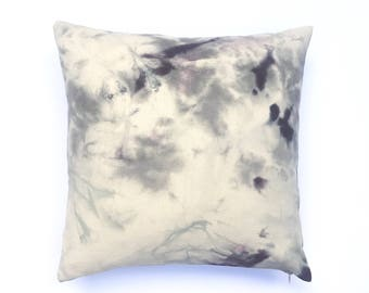 Purple Gray Pillow Marble Design   Hand dyed Marbled Gray Throw Pillow Cover 20 x 20, Bohemian Throw Pillow -  1
