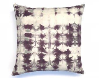 Tie Dyed Black Cherry Grey Pillow Cover 20 x 20 Purple Gray Hand Dyed Pillow Grey Throw Pillow Shibori Pillow Living Room Boho Pillow 3