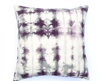 Purple Gray Hand Dyed Pillow   Boho Pillow Grey Shibori Pillow Bohemian Cushion Cover 9