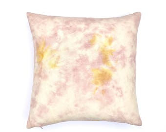 Pink and Yellow Marbled Pillow   Pink Boho Pillow Cover 20x20, Blush Pink Pillow