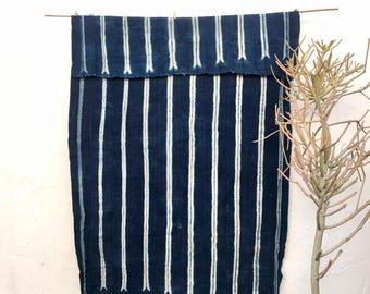 Vintage African Fabric   African indigo blanket,  Striped Indigo Textile, Indigo Mudcloth, African Mudcloth, Indigo Throw 86