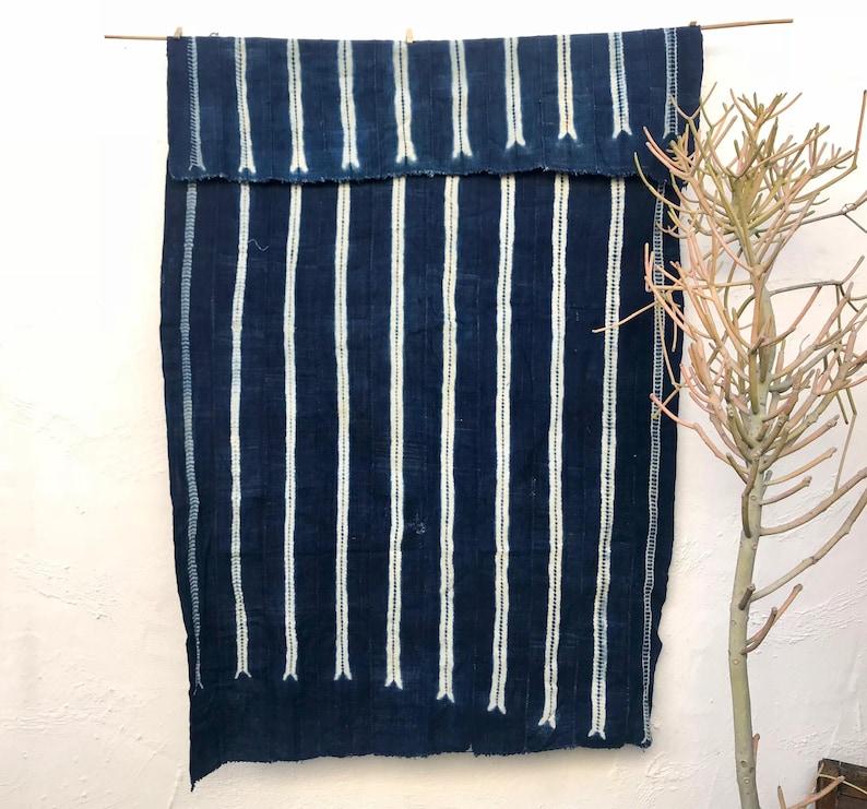 Vintage African Fabric  African indigo blanket  Striped image 0