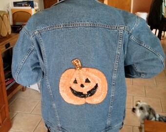 Happy Halloween - Denim with Sequin Pumpkin