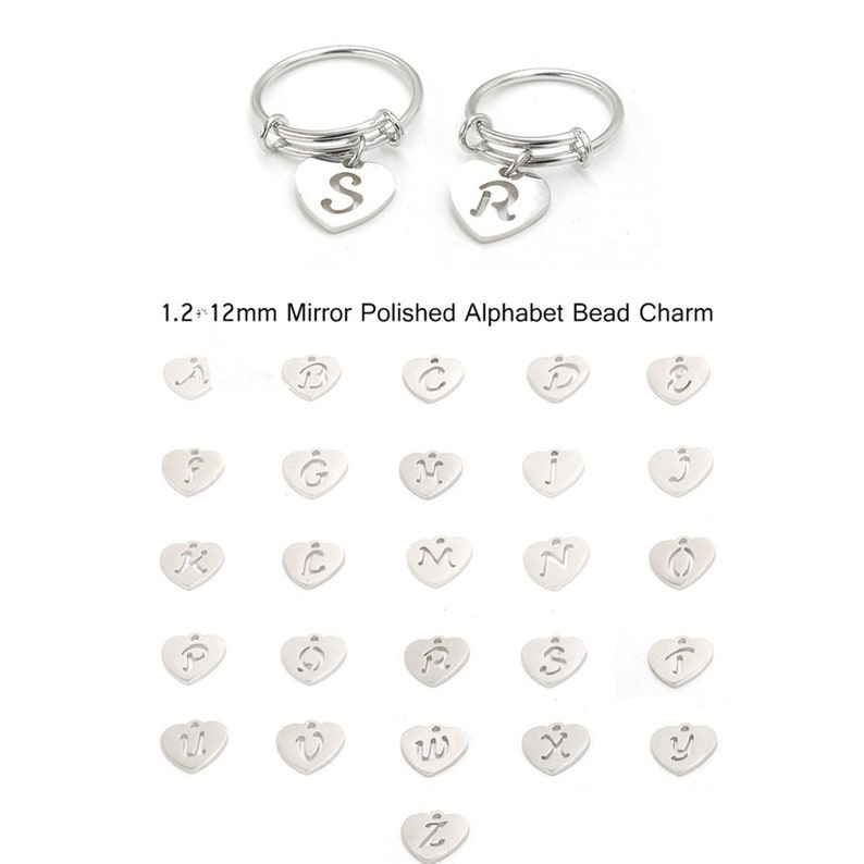 Stainless steel Coil Ring 3pcs 1.6mm Stainless Steel Ring Hypoallergenic Alphabet Pendant Ring,T316 26 English Letters Love Pendant Ring