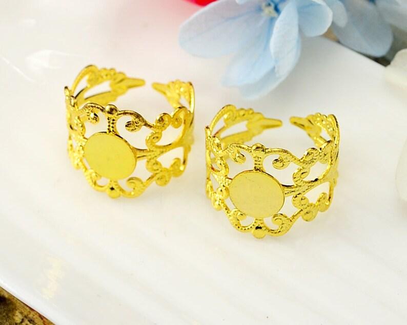 20pcs Brass Bronze Silver Gold Rose Gold White Gold Gun-Metal Plated Adjustable Filigree Floral Base Setting 8mm Glue Pad Base Setting