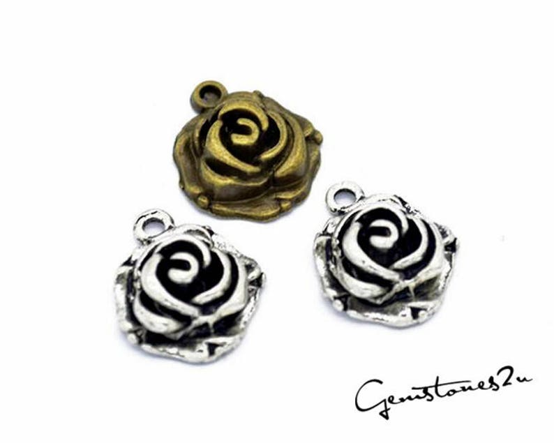 Vintage Style Flower Pendant Charms Jewelry Making Findings DIY Supplies 50pcs 18x15mm Rose Pendant Charm 2 Colors available Q124