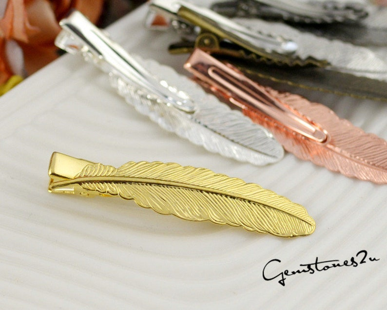 Blank Hair Clip For Hair Accessories -6 Colors5822 Brass Blank Hair Barrette 20pcs Brass Alligator Hair Clips W 12x52mm Filigree Feather